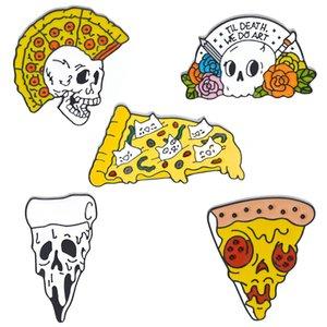 2020 divertidos punk pizza broches del cráneo esqueleto fantasma de la solapa de esmalte Broche Skeleton Pin de la flor del collar de la solapa de regalos Breastpin ramillete insignia