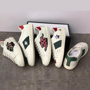 Classic Ace Leather Sneaker Crystal Embroidered Designer Shoe Low-top Ace Flat Trainers Rubber Bottom Snake Bee Pattern Casual Shoes d09