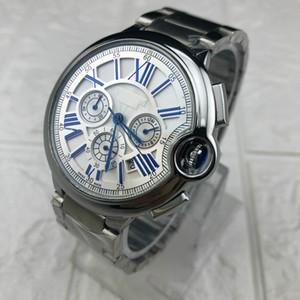 Los hombres relojes de pulsera 48mm 3 horas de trabajo de marcación de zona de cuarzo relojes de negocios Cara de plata del reloj de oro de acero inoxidable