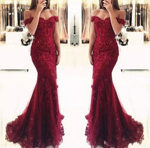 Elegante Borgogna Mermaid Dresses Prom Dresses 2019 Appliques Off The Shoulder Beaded Sequins Long Prom Gowns Abiti da sera