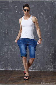 2020 Mens Summer Stretch Lightweight Blue Denim Jeans Short for Men Jean Shorts Pants Plus Size 29 30 31 32 33 34 35 36 38 40 42 44 46