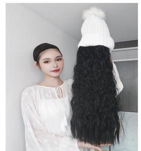Оптовая продажа шерстяной рулон волна волос парик шляпа набор мода вязаная шапка шапка с синтетическим расширением волос длинная волна воды волос парик шляпа для женщин