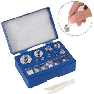 17 unids Calibración de la Escala Digital Peso 10 mg-100 g Joyas de Acero Inoxidable Calibración de la Escala Conjunto de Peso Pinzas Herramientas de ponderación