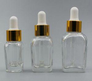 10ml quadratische Glas Tropfflasche klar e Zigarette e flüssiger Ejuice ätherisches Öl Parfüm Glasflasche mit Gold Silber weiße Kappe