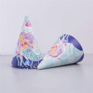 Sirène thème d'anniversaire de chapeau thème fête personnage de dessin animé tête chapeau conique robe