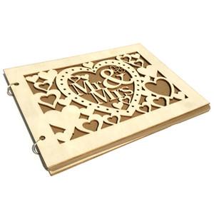 40 Page legno decorazioni Firma guestbook mano Mr Mrs Love Wedding Guest Book di legno di DIY Firma Sign-In Libro