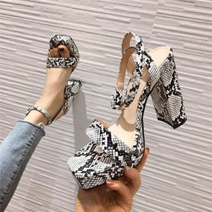 Golden Snakeprint Leather high heels shoes Woman Sandals Square toe Ankle strap thick Heel Platform Sandals Women shoes