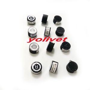 10 unids 14 mm Taiwán Últimas Kamui Clear Billiards Pool cue tips Negro con cojines en SS / S / M / H accesorios de billar de alta calidad opcionales