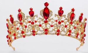 Noiva Red Diamond Crown Walking Mostrar casamento Alloy noiva cocar Hoop cabelo