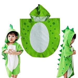Продвижение! Дети Полотенце Robe Дети Hooded Пляж Бассейн Пончо Динозавр Pattern (зеленый + белый 55 Cm X 110 Cm) Вакуумная Части Accessorie