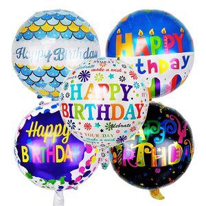 18 pouces joyeux anniversaire lettre hélium feuille ballons ballon rond à air pour enfants enfants fête d'anniversaire décoration