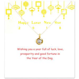 Марка Круглого Цирконий ожерелье Женщина Минималистская ключица цепь Заявление Choker ожерелье Happy New Year Gift Card