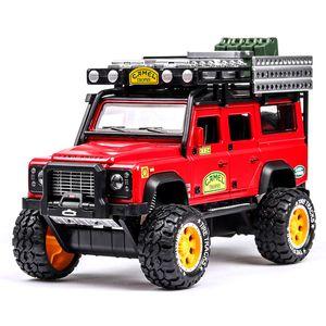 Simülasyon 01:28 Land Rover Defender Deve Klasik Otomobil Koleksiyonu Modeli Alaşım Çocuk oyuncak araba modeli Scenic Spot Model Araba