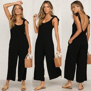 여성 패션 솔리드 컬러 Jumpsuits 2019 새로운 도착 여성 디자이너 Rompers 핫 캐주얼 여름 민소매 Rompers 여성 탑스 의류