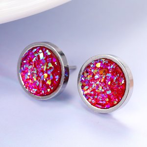 Cute Little Simple Druzy Stud Earrings Exquisite Stainless Steel Stud Earring For Women Cheap Jewelry Accessories Wholesale