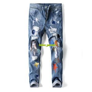 2019 Мужская Прохладный и моды Street Trend Вышивание патч прямые джинсы мужские Тонкий ретро Брюки мужские джинсы стилиста