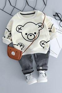 Automne Hiver Vêtements pour enfants Set chauds pour bébé Garçons Vêtements Cartoon Ours manches longues Thicken Hoody Pants Ensembles fille Survêtement