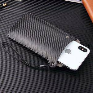 Per Huawei Honor 8C / Honor 8X / Honor 8X Max lusso in fibra di carbonio in microfibra in pelle Super Slim Sleeve Pouch Phone Bag Case Cover