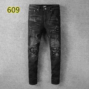 2019 top quality 012 amiri Jeans известный бренд дизайнерские джинсы мужская мода уличная одежда мужские байкерские джинсы мужские брюки