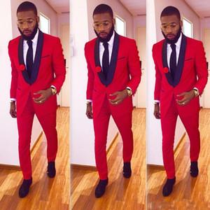 High One Button Red Groom Smoking Groomsmen Scialle bavero Best Man Blazer Mens Abiti da sposa (giacca + pantaloni)