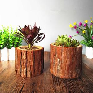 Plantes Pot de fleurs Succulent Planteur nature Faux Bois Petit Flowerpot de bureau bougeoir à la main jardin Décor