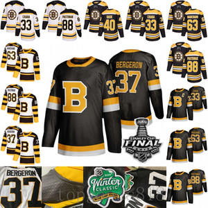 Troisième Noir Boston Bruins 37 Patrice Bergeron Brad Marchand Tuukka Rask David Pastrňák Krejci Zdeno Chara 2019 Winter Classic Hockey Maillots