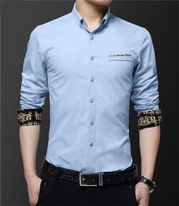 Vestito da affari del collo Designer Casual Male shirt Mens Signori lunghe di modo del manicotto camice fiore del ricamo autunno risvolto