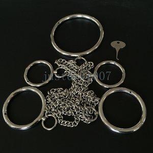 Sınırlamalar Paslanmaz Yaka-Bilek-Ayak Bileği AU65 Metal Köle Kelepçe Manşetleri Çelik Parlak Higsl