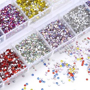SS3 Size Mixed Color Nails Art Rhinestone For Nails Art Decorations Crystals Strass Charms Partition Mixed Size Rhinestone Set