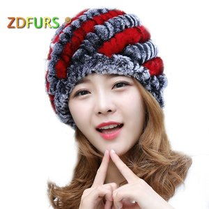 ZDFURS * Moda Bayan Rex Tavşan Kürk Şapka Şerit Tasarımı ile Sevimli Bayanlar Kış Sıcak Rex Tavşan Kürk D19011503 Caps