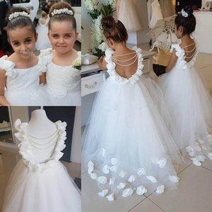 Reale photo Bella fiore ragazza abiti o collo di Tulle Piano Lunghezza Backless Kid di sfera Junior damigella d'onore per le ragazze