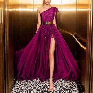 2020 Julie Vino une épaule robes de bal longue de style Une ligne sexy de Split bordure en dentelle fuchsia élégant Les robes de soirée formelles
