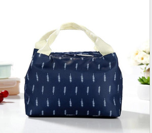 50pcs 5 Styles New geometric pattern Lunch Bag Tote Bag Lunch Organizer Handle Insulation Cold Picnic Food Storage Box Thermal Canvas Box