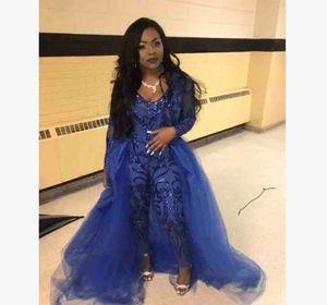 Trajes de las bragas de África 2020 Classic mono de manga larga vestidos de baile Con desmontable de tren apliques de encaje vestidos de noche de lujo del partido de las mujeres
