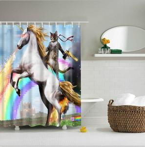 snygga duschdraperier 유니콘과 고양이 인쇄 샤워 커튼 목욕 제품 욕실 장식 후크의 duschdraperi 모험 방수