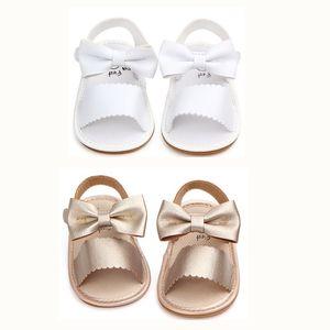 2018 Brand New Toddler Summer Sandals Cute Newborn Infant Baby Girls Bowknot Princess Shoes PU Zapatos de goma antideslizantes Tamaño 0-18M