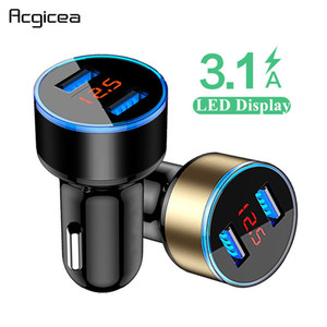 3.1A Dual USB Car Charger con display a LED Universal Mobile Phone Car Caricabatteria per Xiaomi Samsung S8 iPhone 6 7 8 6s Inoltre Tablet