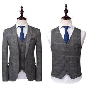 2020 Grau Herren Anzüge Tweed Wolle überprüfen Anzüge Regular Fit Bräutigam Smoking nach Maß Plaid Hochzeit Smokings formales Kleid