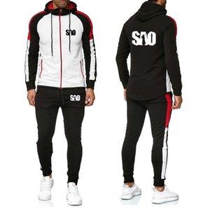 Мужские костюмы SAO Sword Art Online Printed splice толстовки мужчины повседневная толстовка мода мужская куртка толстовки+брюки костюм 2шт