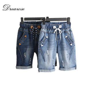 Dreawse mujeres cortocircuitos más el tamaño 5XL Harem verano pantalones vaqueros rasgados pantalones cortos Casual Lace Up Capris pierna ancha pantalones cortos de mezclilla 2417
