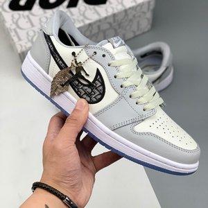 Kalite Dior Air Jordan 1 Kanye West Air Oblique AJ1 B23 B24  Eğik Terlik Yüksek Top Spor Düşük KAWS Kim Jones Hommes Femme Basketbol Sneakers Kadın Erkek Ayakkabı