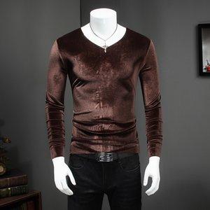 T-shirt à manche longue à col en V Homme Automne Hiver T-shirts Slim Fit T-shirts Casual