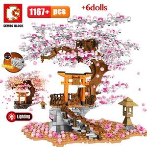 Ver Sembo lugar calle Idea Ladrillos Sakura Inari Amigos flor de cerezo Technic creador casa del árbol Building Blocks Juguetes CX200706