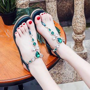 2020 nuevas sandalias de la hembra del verano ronda del dedo del pie-Perilla plana Rhinestone tendencia de la moda de zapatos de mujer zapatos de mujer
