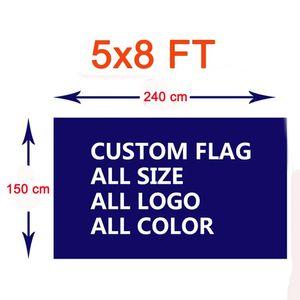Kundenspezifische Flaggen-5x8 FT Polyester Logo bedruckt Personalisierte DIY Musterfarbe Indoor Outdoor Nutzung Festival Club Sport Fußball-Fußball Individuelle Flaggen