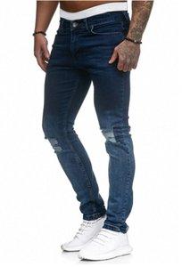 EuropeanAmerican hombres del estilo Medio cintura estiramiento flaco dril de algodón largo de lápiz más el tamaño de los pantalones vaqueros cómodas Botones BlueBlack S-3XL