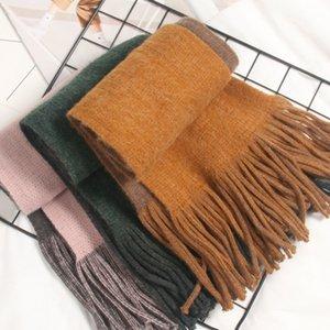 De doble cara color puro borlas bufanda Childrens Extra Grande espesado Cachemira-como las muchachas de los bebés Mantón de la bufanda de Corea-Estilo