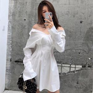 Woherb coreana del verano 2020 Camisa de vestir de manga larga moda señoras elegantes Sólido oficina Vestidos Vestidos de Fiesta T200117