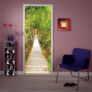 Творческий 3D самоклеящиеся расслабленной двери спальни росписи гостиной стикер стены подвесной мост здание домашнего декора двери наклейки