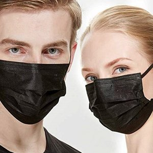 DHL 5000pcs Real in Stock Designer Mask Household Protective Products Black Disposable Face Mouth Masks Protection Mask for Unisex Women Man